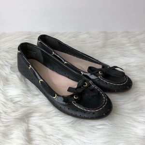 Sperry Black Perforated Slip On Flats Loafers